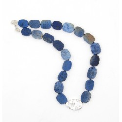 Silver & dumortierite necklace